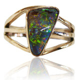 Green Multi Coloured Boulder Opal Ring