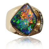 Bright Green Orange Gold Mens Gold Ring with Diamonds