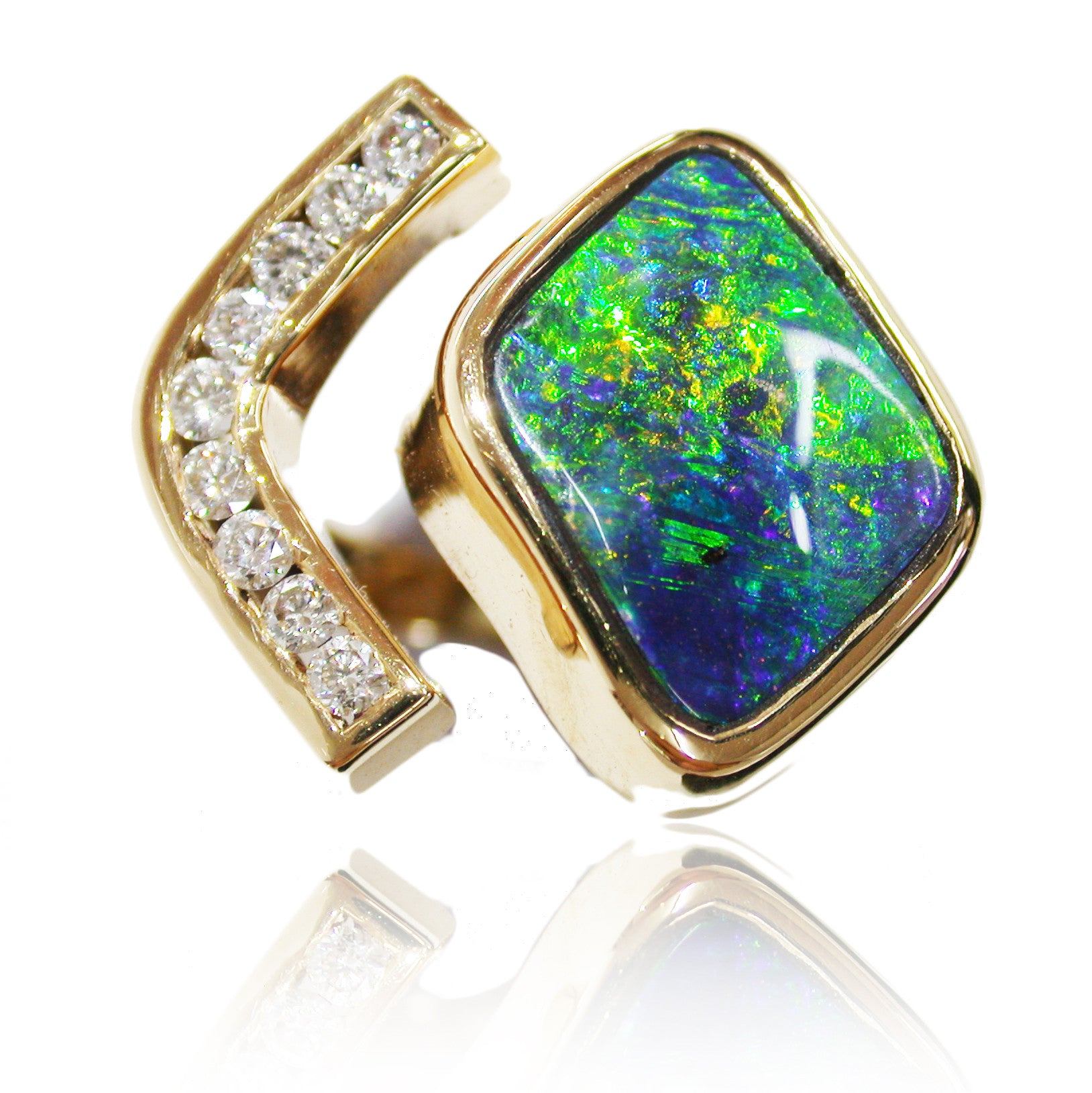 Green Blue Orange 18k Gold and Diamond Ring