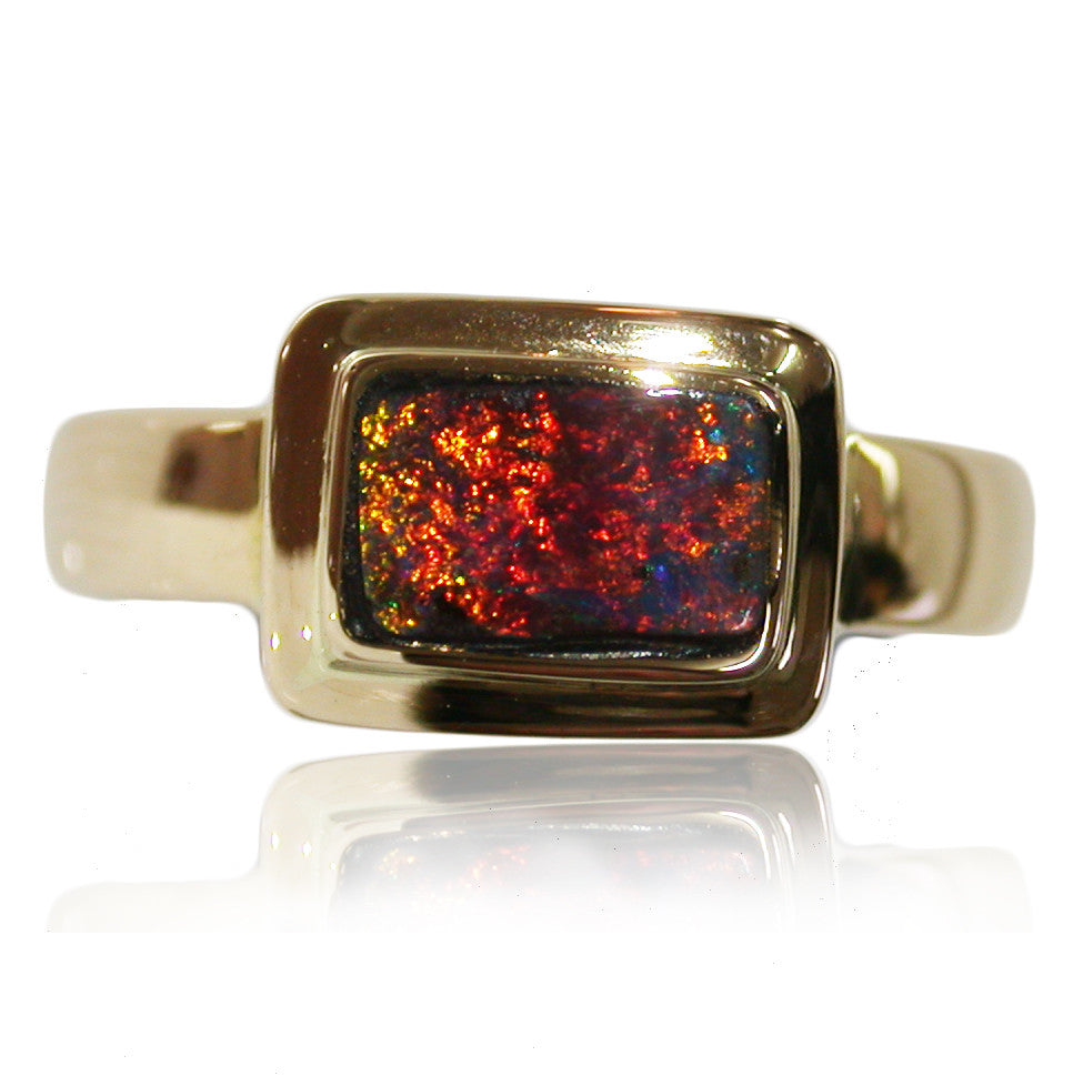 Red Orange Green Boulder Opal Ring