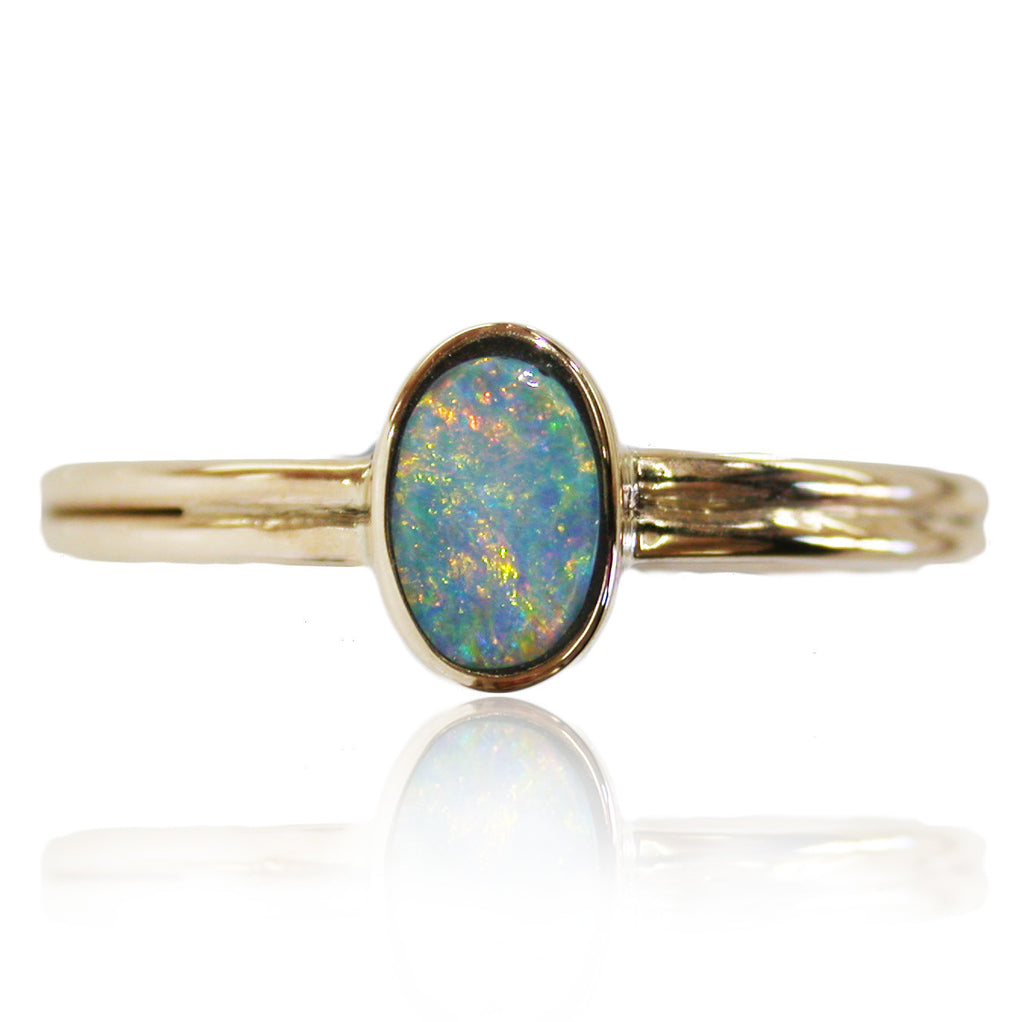 Orange Blue 9k gold ring