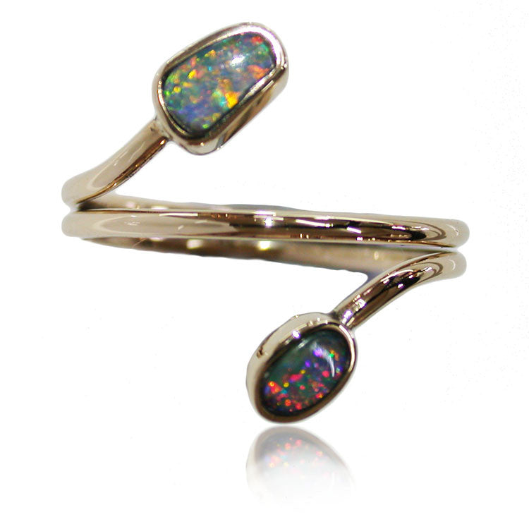 2 Stone Multi Colour Opal Ring