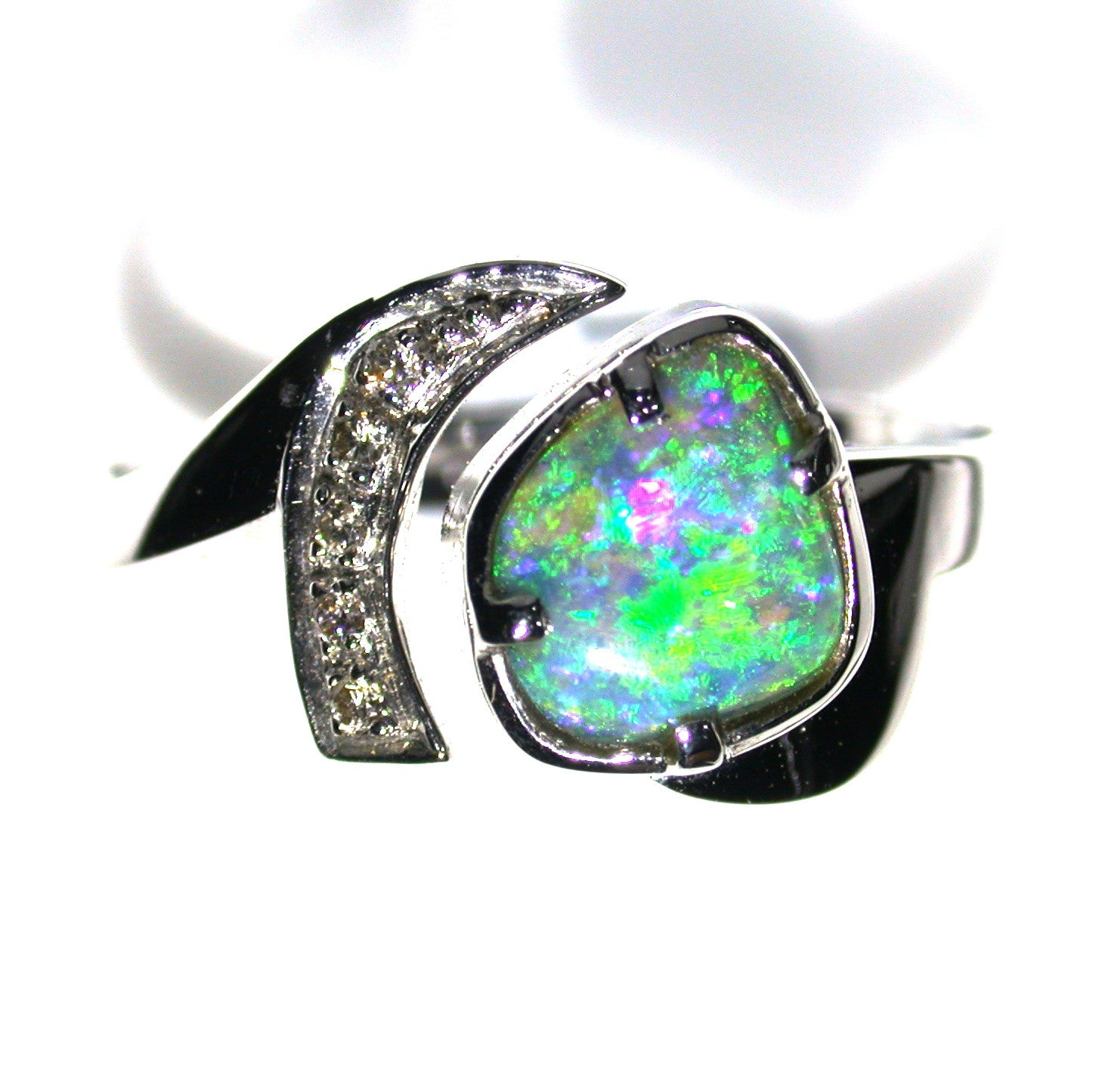 Bright Green solid boulder opal 18k Ring
