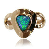 Bright Green Blue 18k Ring