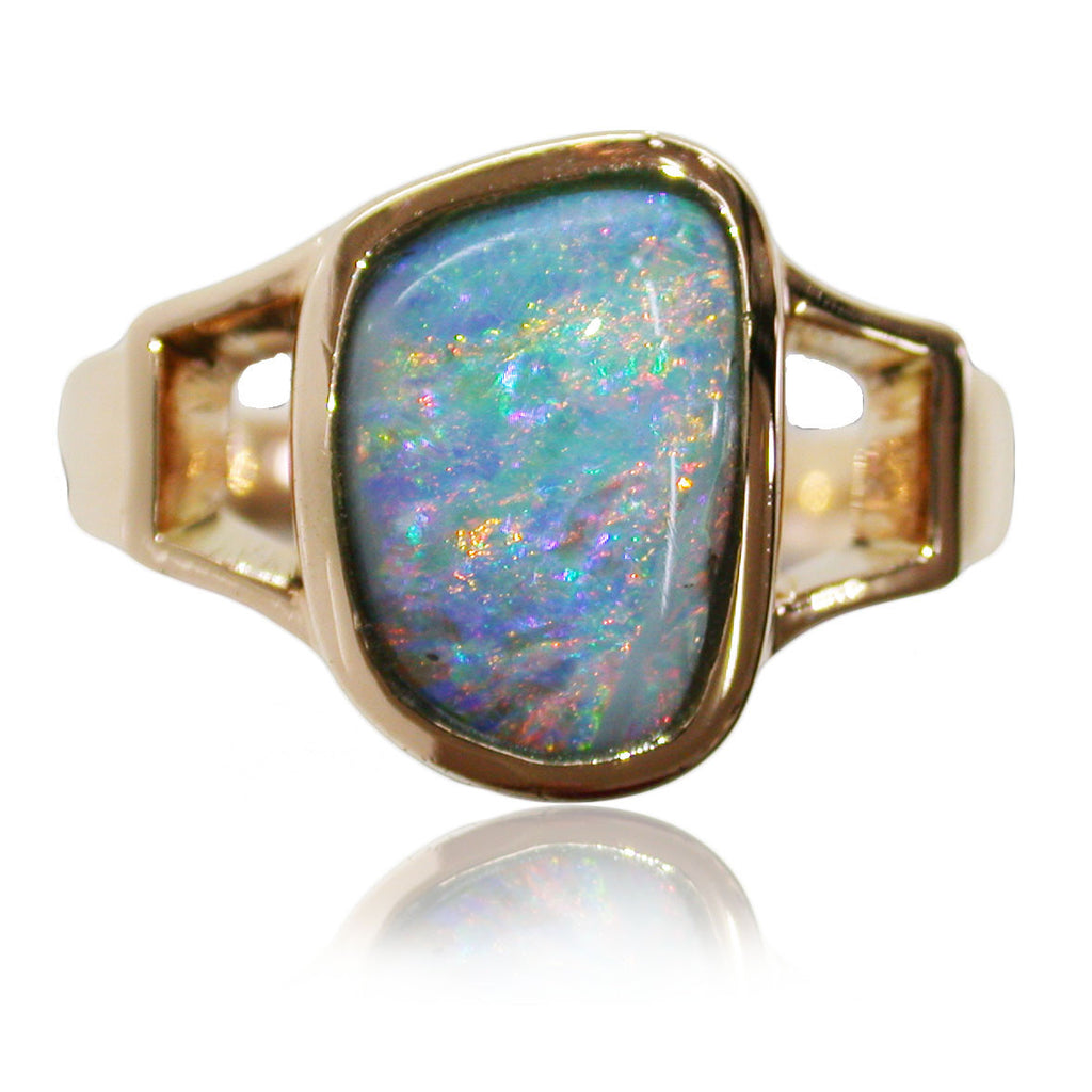 Orange Multi Colour Opal Ring