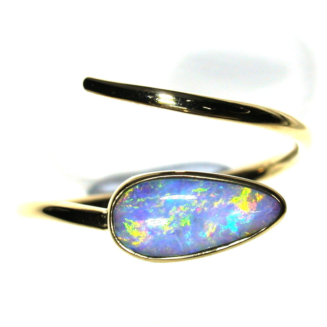 Mixture of pastel colours in a solid boulder opal from Quilpie , 9k Ring