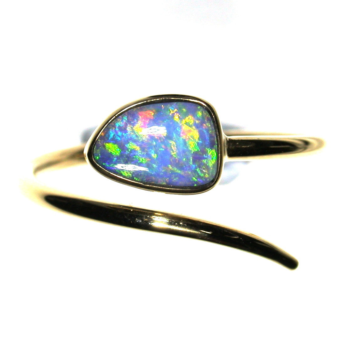 Green multicoloured solid boulder opal from Quilpie , 9k Ring