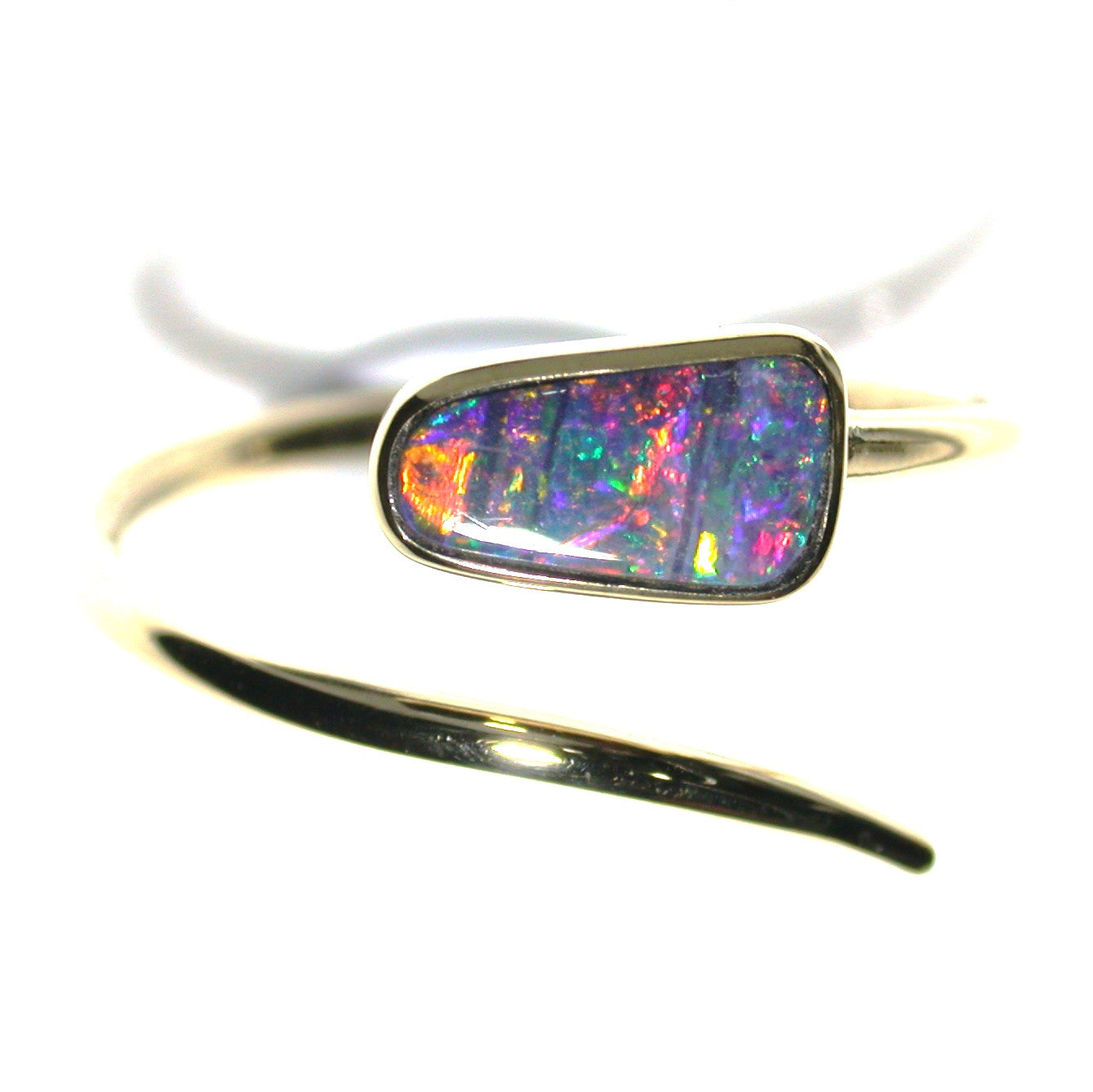 Red multicoloured solid boulder opal from Quilpie , 9k Ring