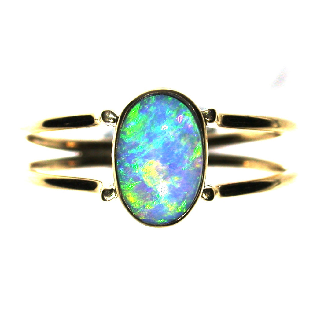 Green crystal solid boulder opal ring