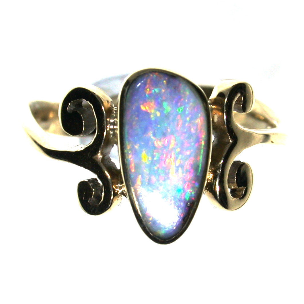 Pink multi coloured solid boulder opal ring