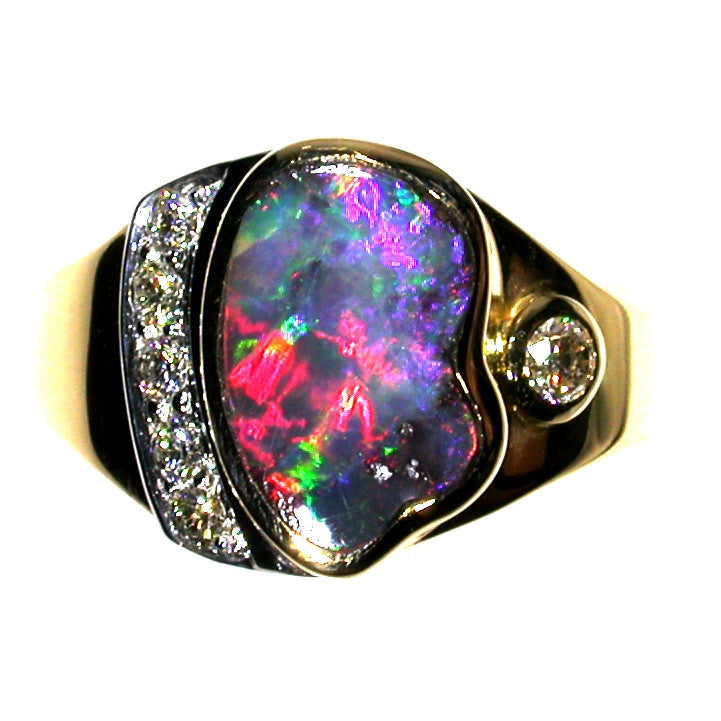 Hot pink multi coloured solid boulder opal from Quilpie , 18K Ring