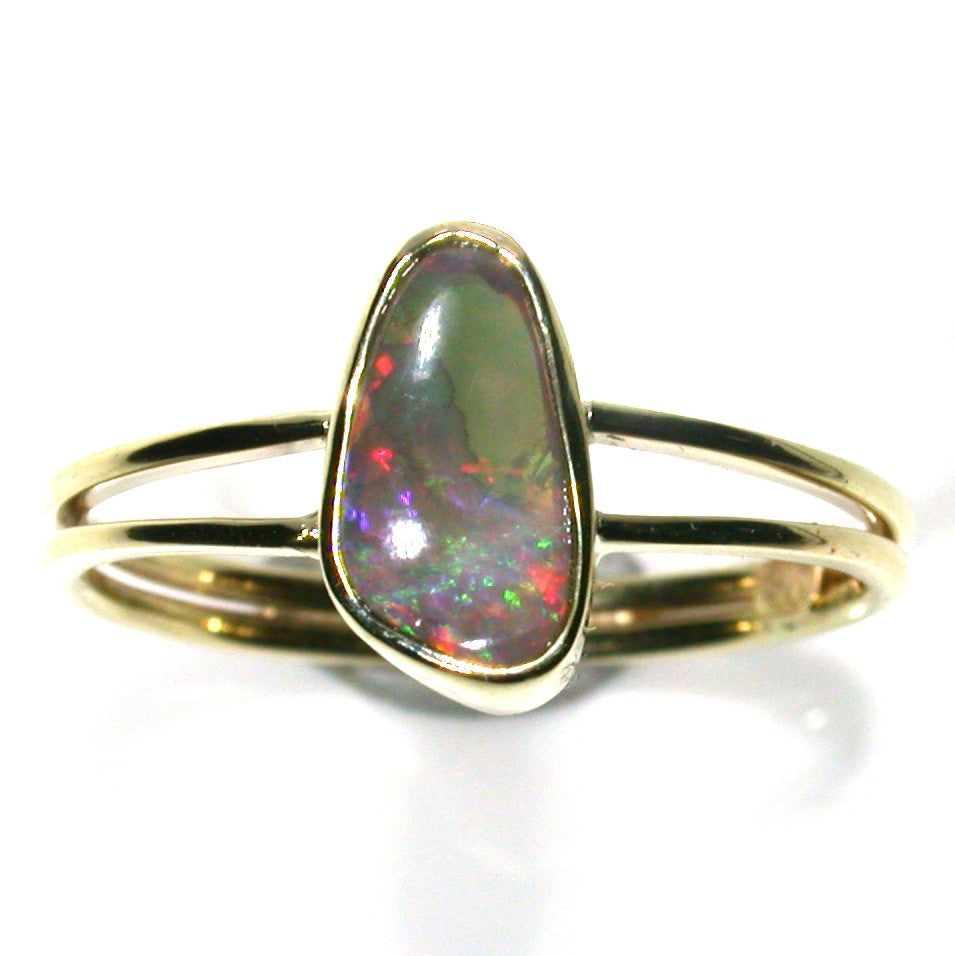 Hot pink solid boulder opal from Quilpie , 9K Ring
