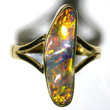 Very Bright Gold,Orange multi coloured solid boulder opal from Quilpie , 18k Ring