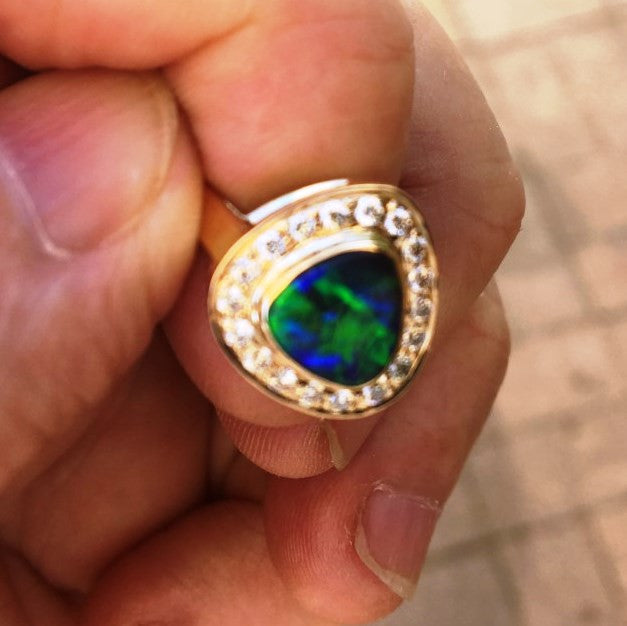 Green, Gold and Blue solid black boulder opal from Quilpie , 18k Ring