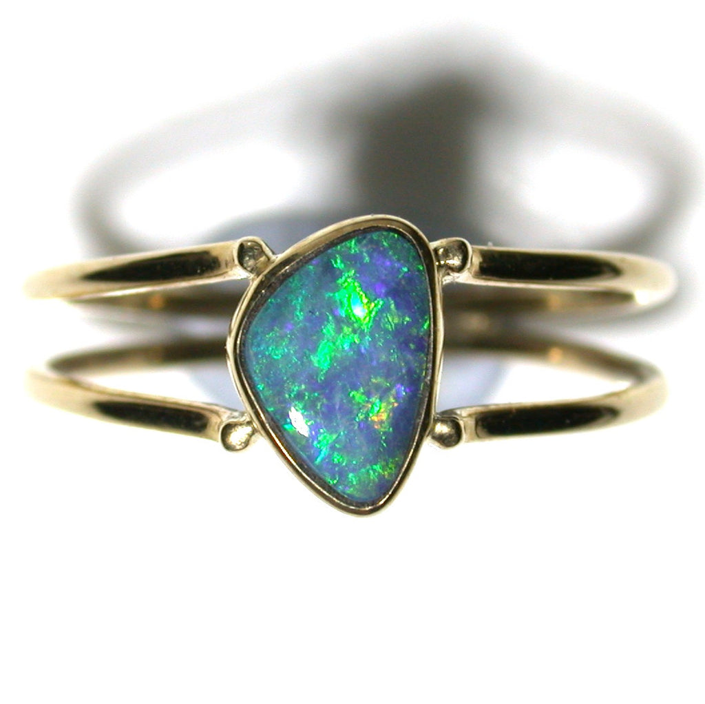 Green and blue solid boulder opal from Quilpie , 9k Ring