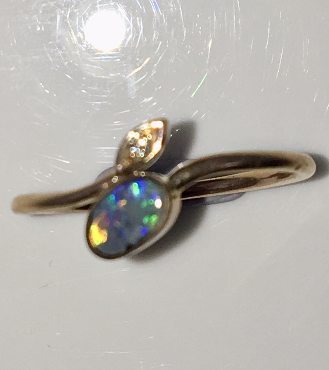 Multi Coloured  solid  boulder opal from Quilpie , 10K Ring