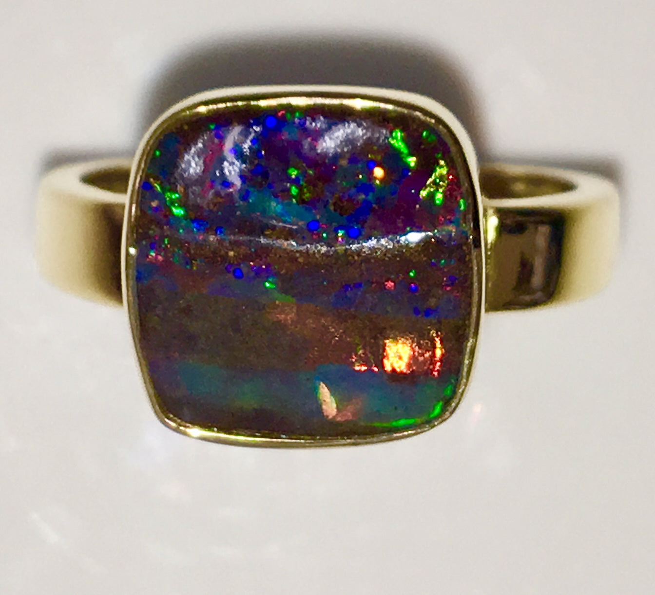 Red  Multi Coloured solid  boulder opal from Quilpie , 18K Ring