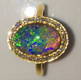 Green Multi Coloured solid  boulder opal from Quilpie , 18K Ring