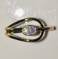Green Multi Coloured solid  boulder opal from Quilpie , 10K Ring