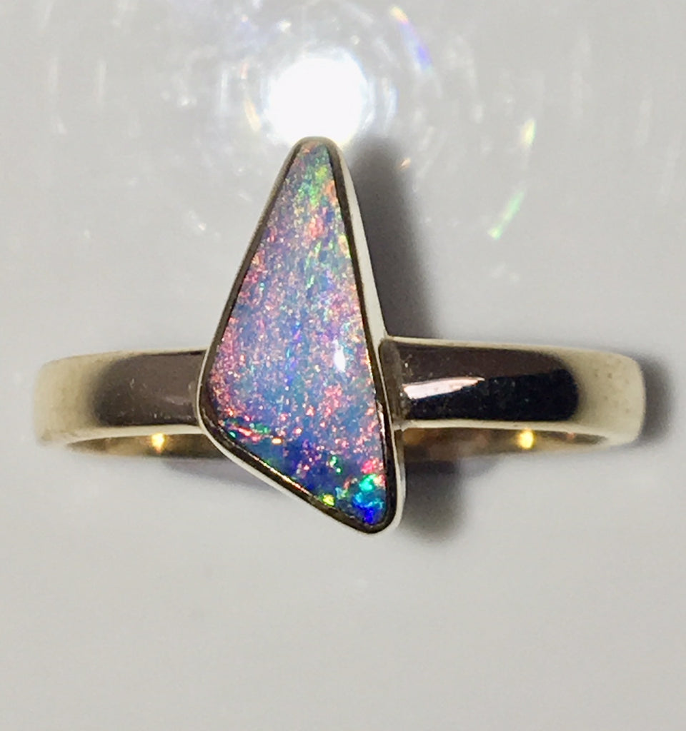 Multi Coloured Pastel solid  boulder opal from Quilpie , 10K Ring
