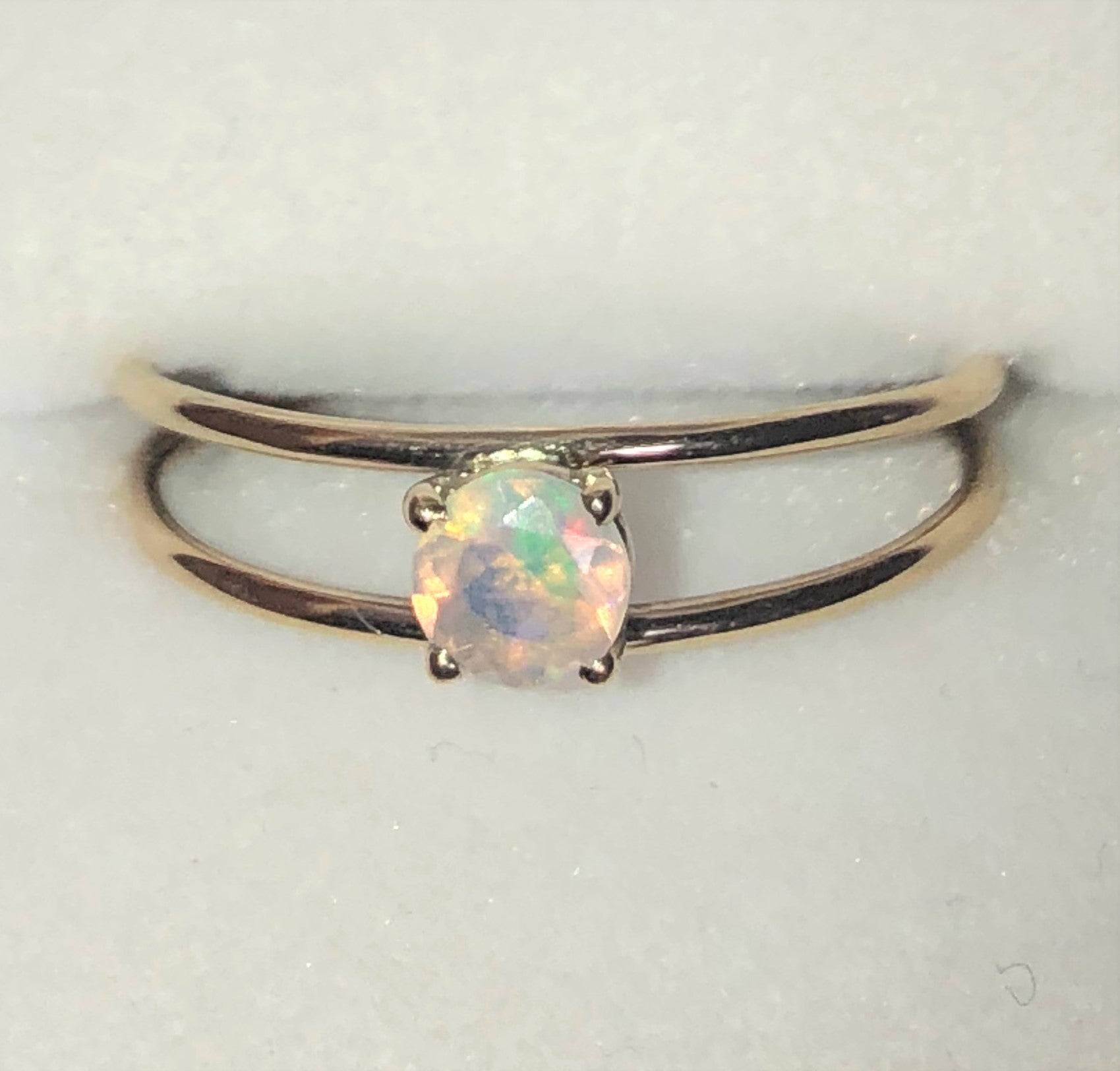 Green crystal Ethiopian opal gold ring