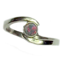 Dainty Red Green Opal Ring