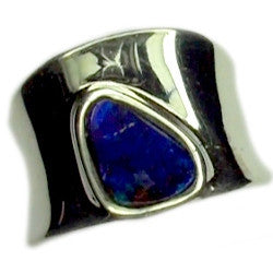 Blue Green Boulder Opal Sterling Silver Ring