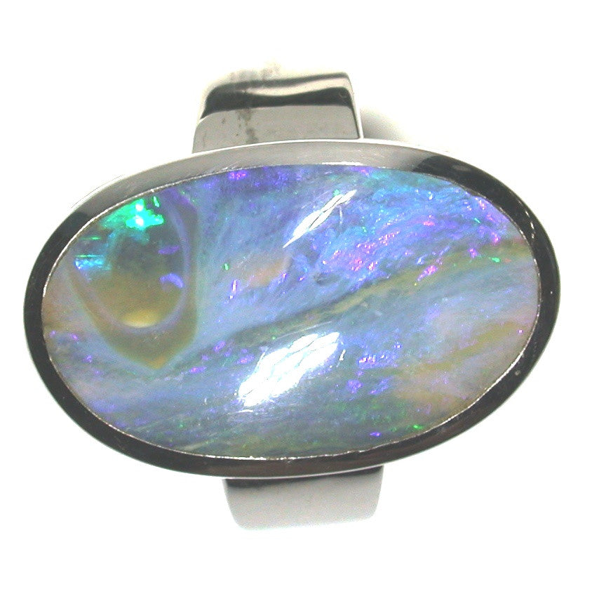Blue and green opal sterling silver ring