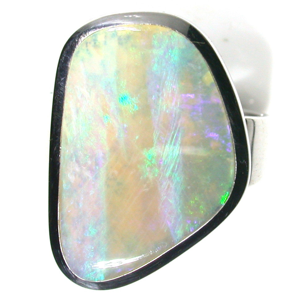 Crystal green opal sterling silver ring