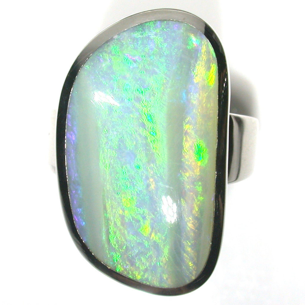 Green multi coloured opal sterling silver ring