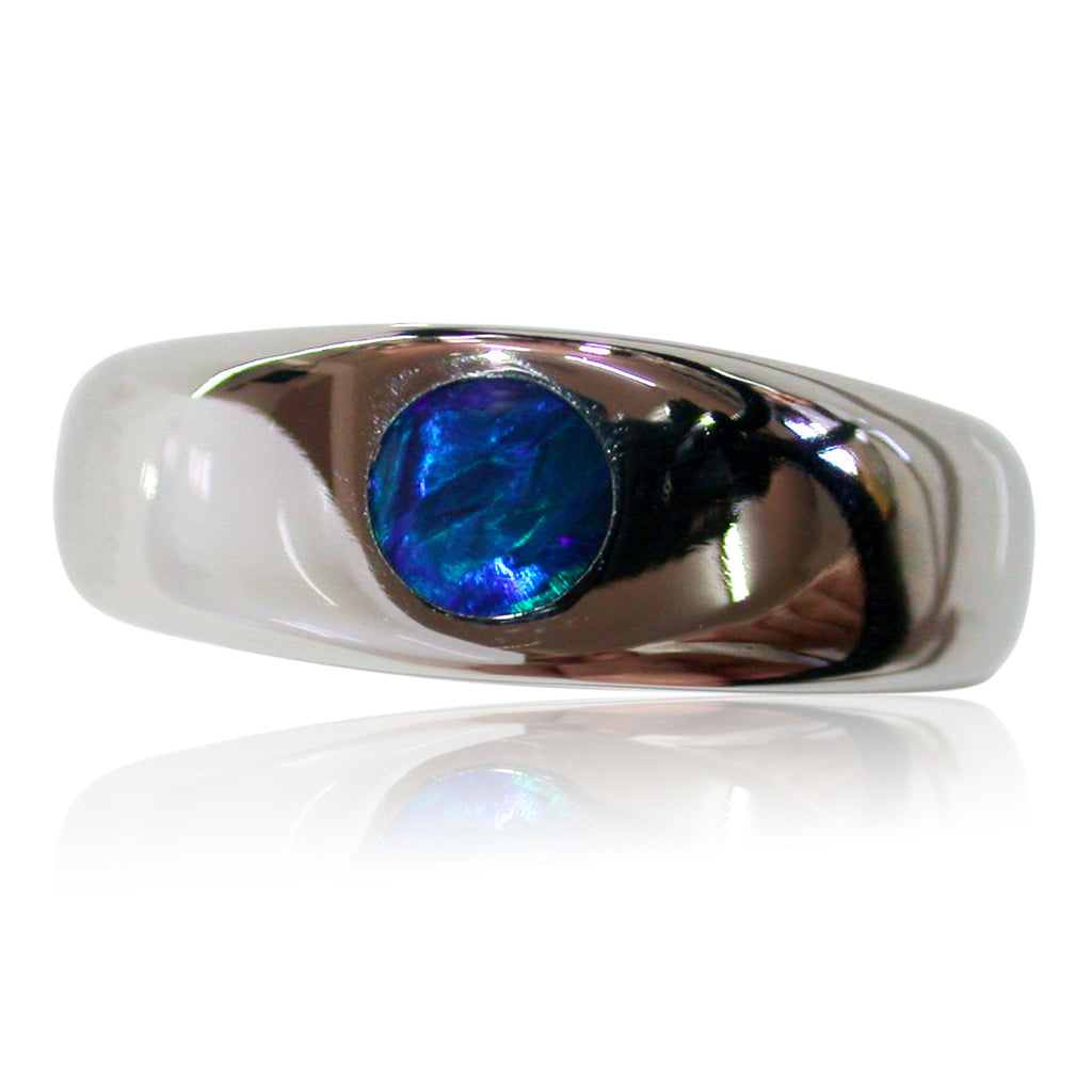Blue Green Stainless Steel Ring
