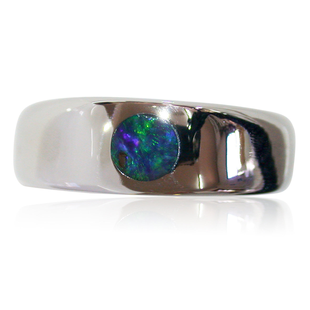 Green Blue Stainless Steel Ring