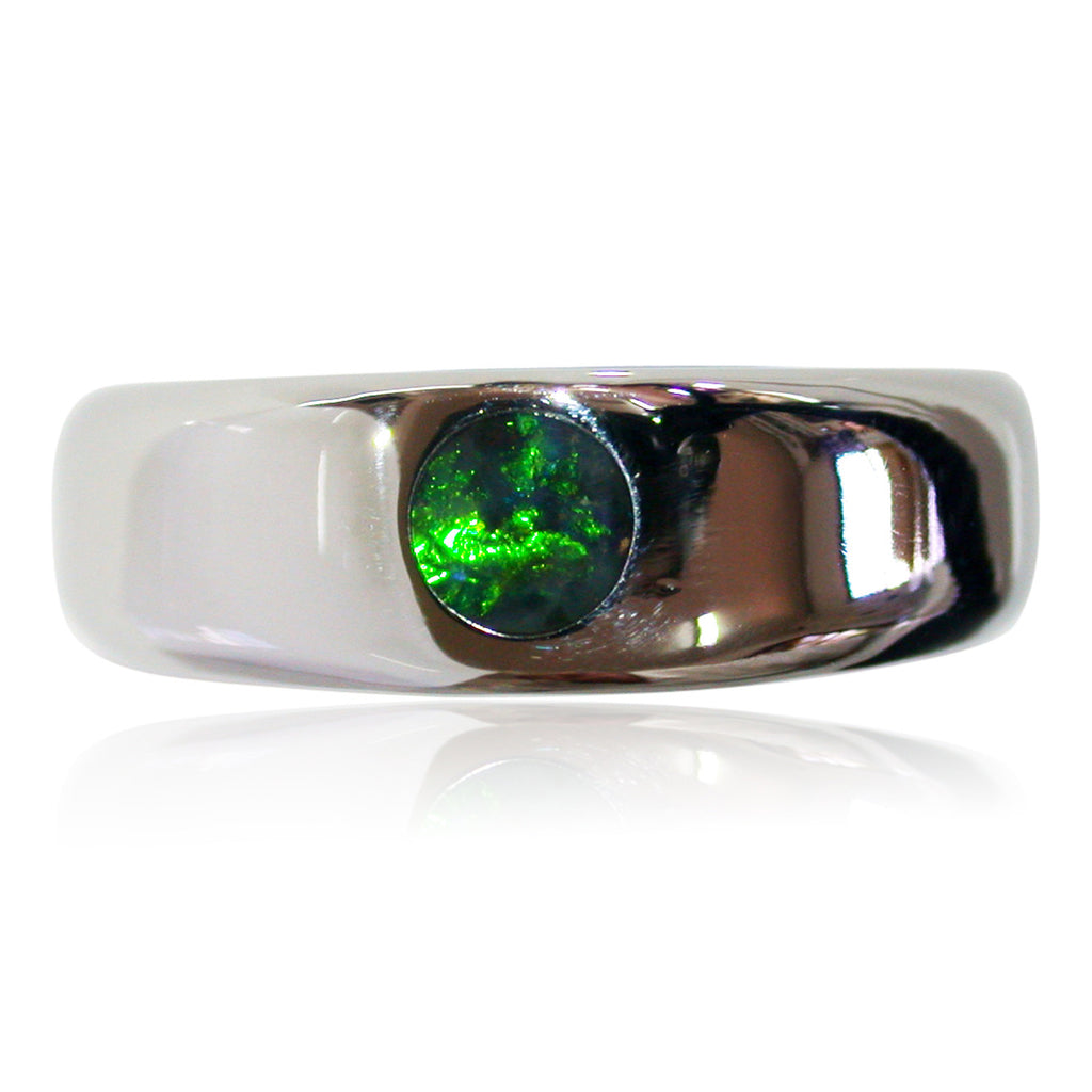 Green Opal & Stainless Steel Ring