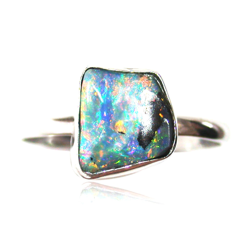 Pink, blue multi coloured sterling silver ring