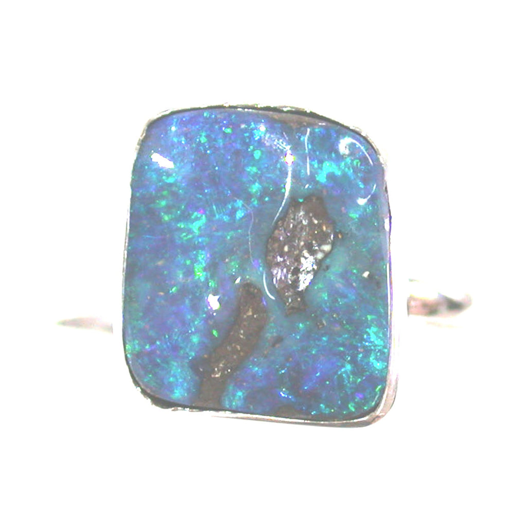 Green and blue opal sterling silver ring