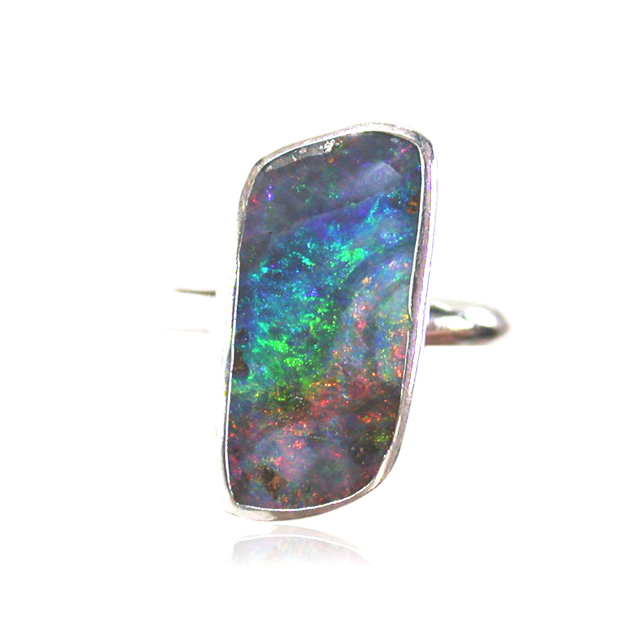 Green and pink opal sterling silver ring