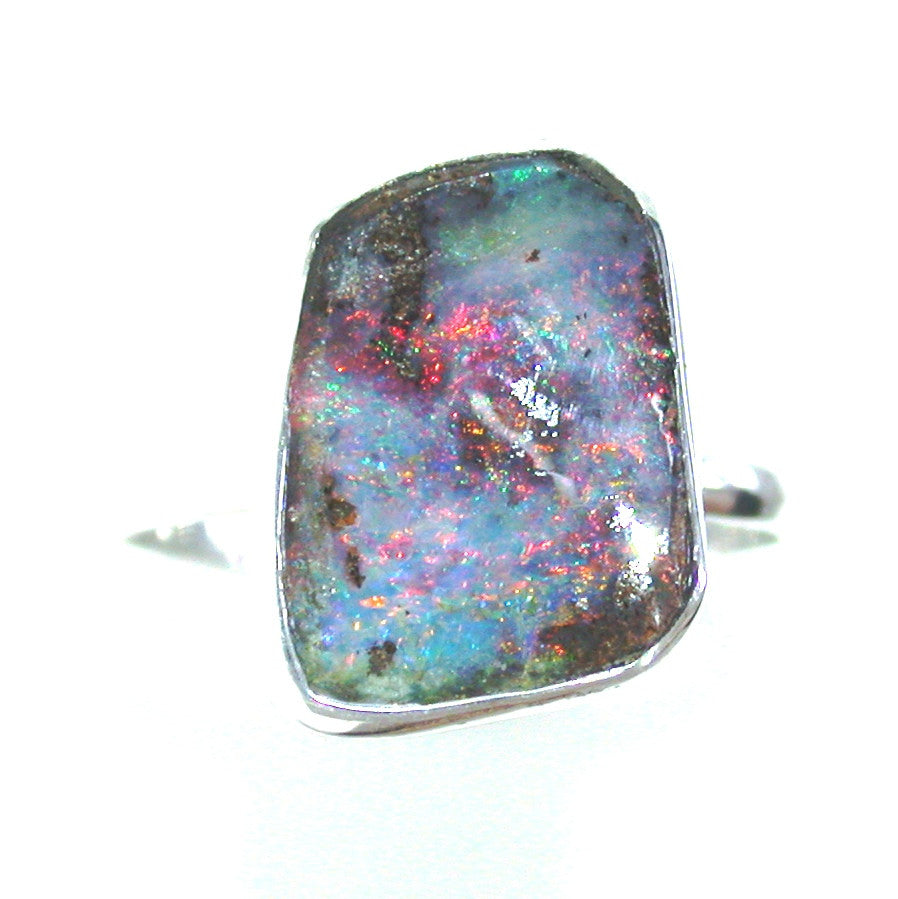 Pink multi coloured opal sterling silver ring