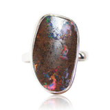 Red multi coloured matrix opal sterling silver ring