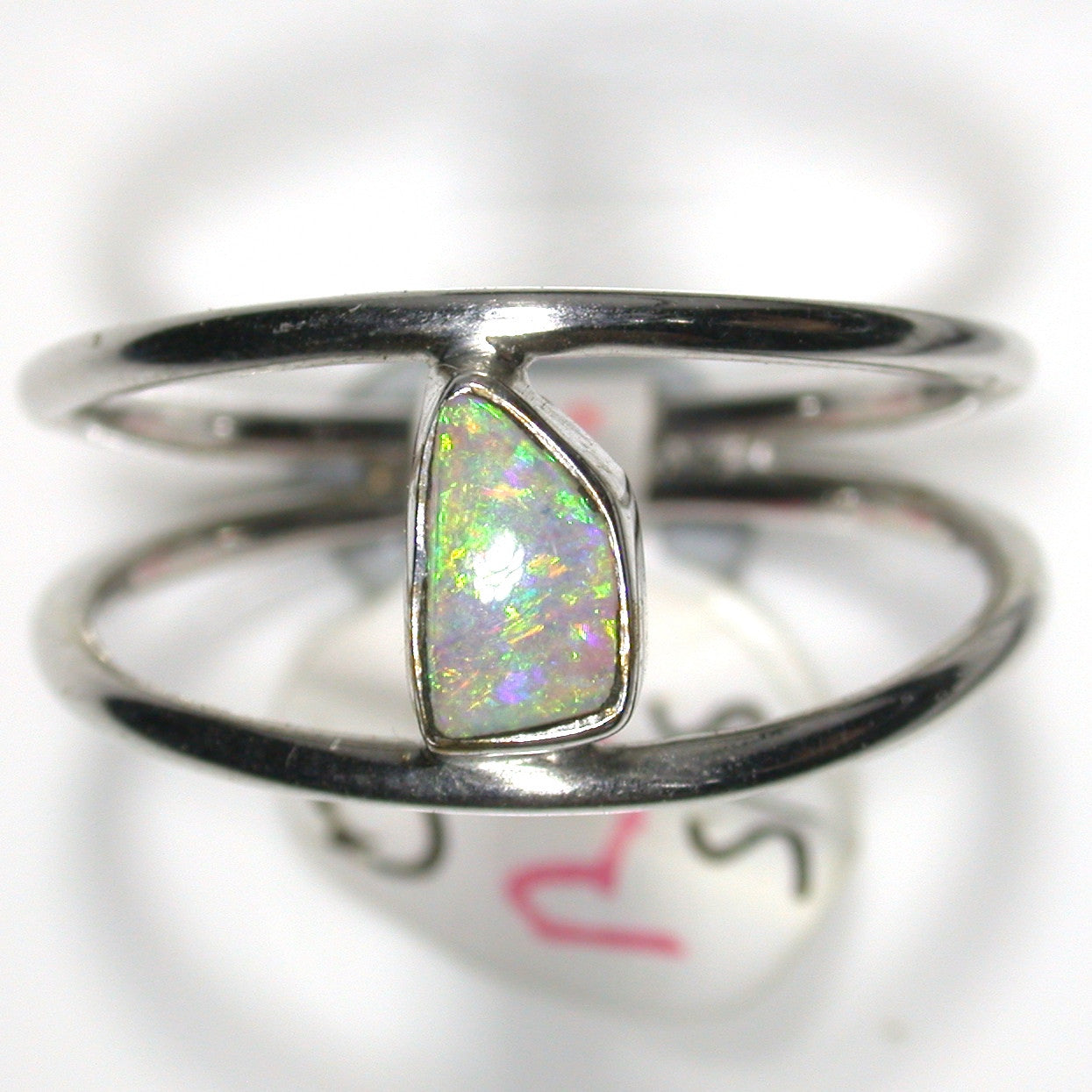 Green multicoloured solid boulder opal from Quilpie , Sterling silver  Ring
