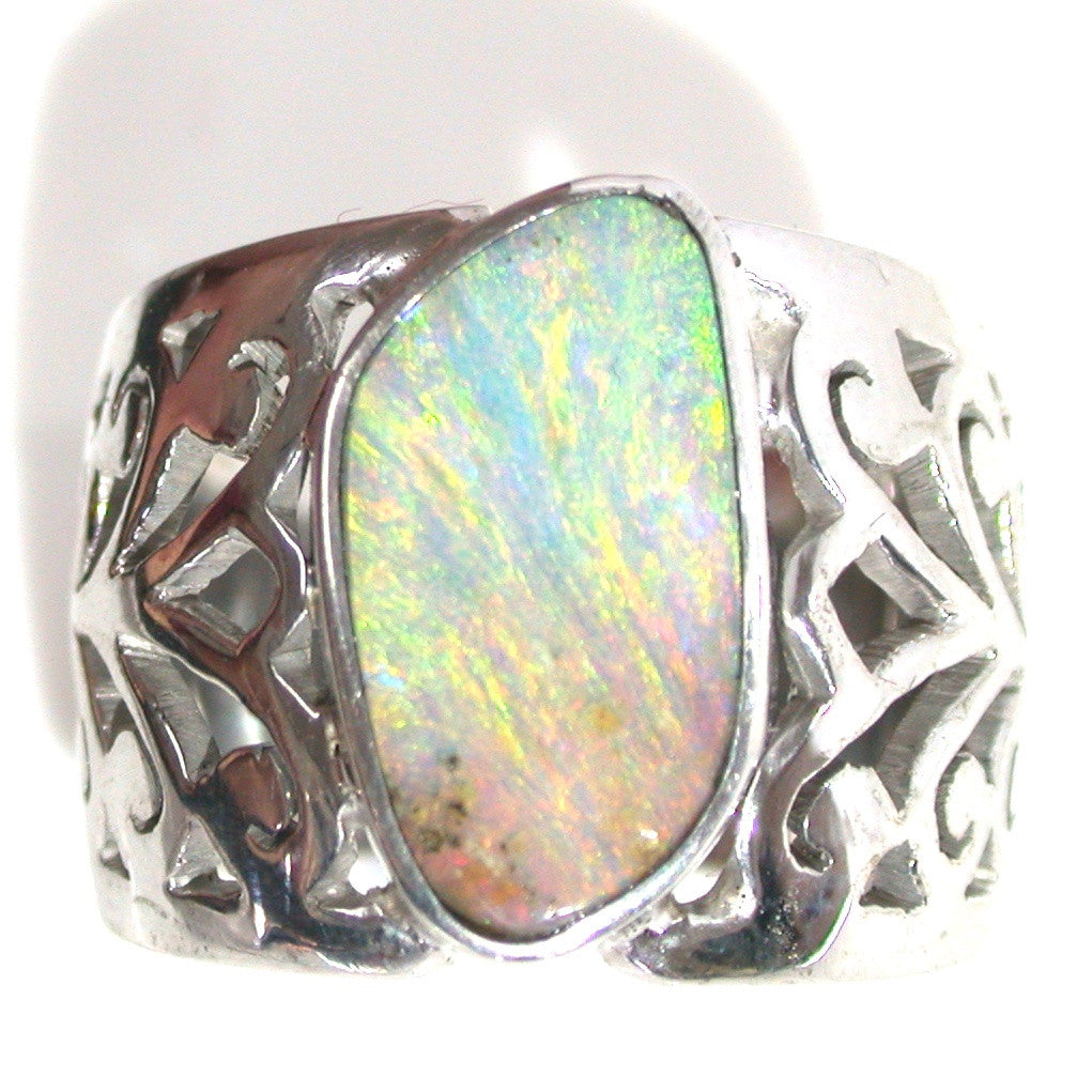 Green, gold multi coloured sterling silver ring