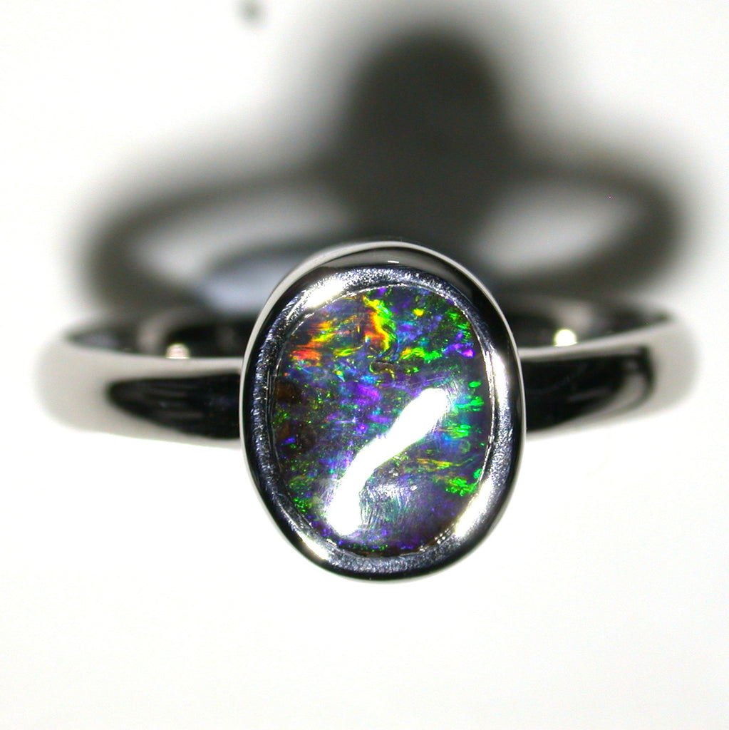 Green, Blue multi coloured solid black boulder opal from Quilpie