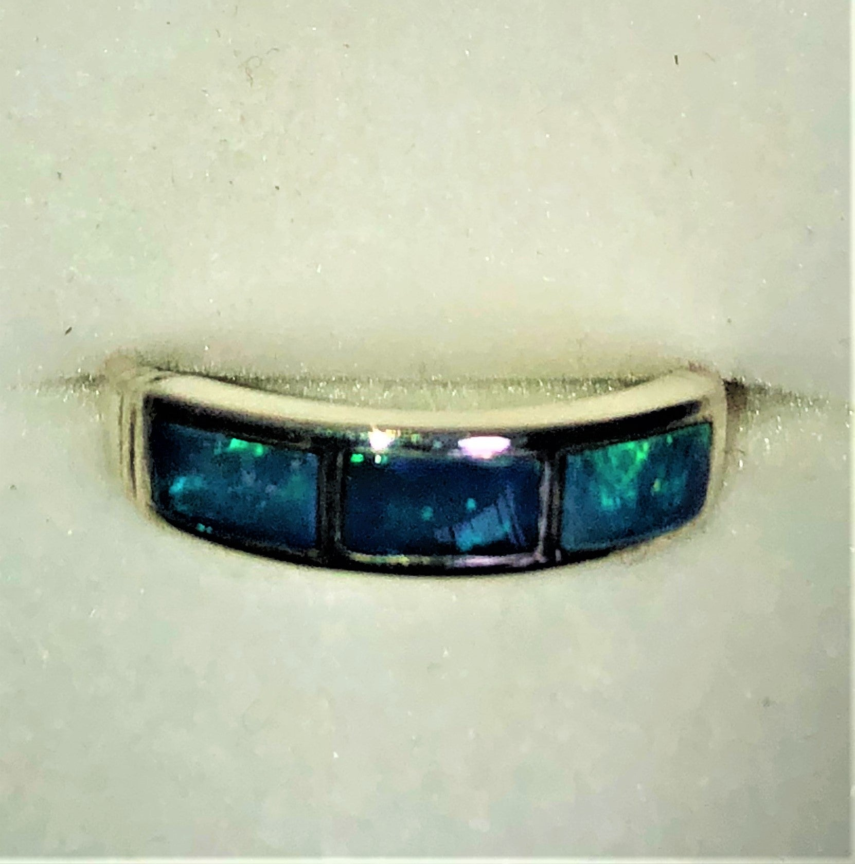 Blue Green Crystal opal inlay Ring
