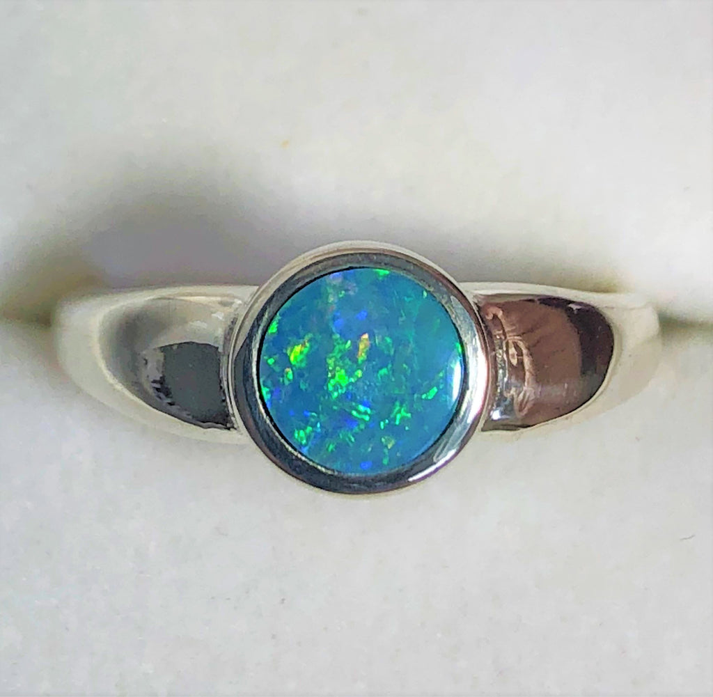 Green multi coloured opal inlay Ring