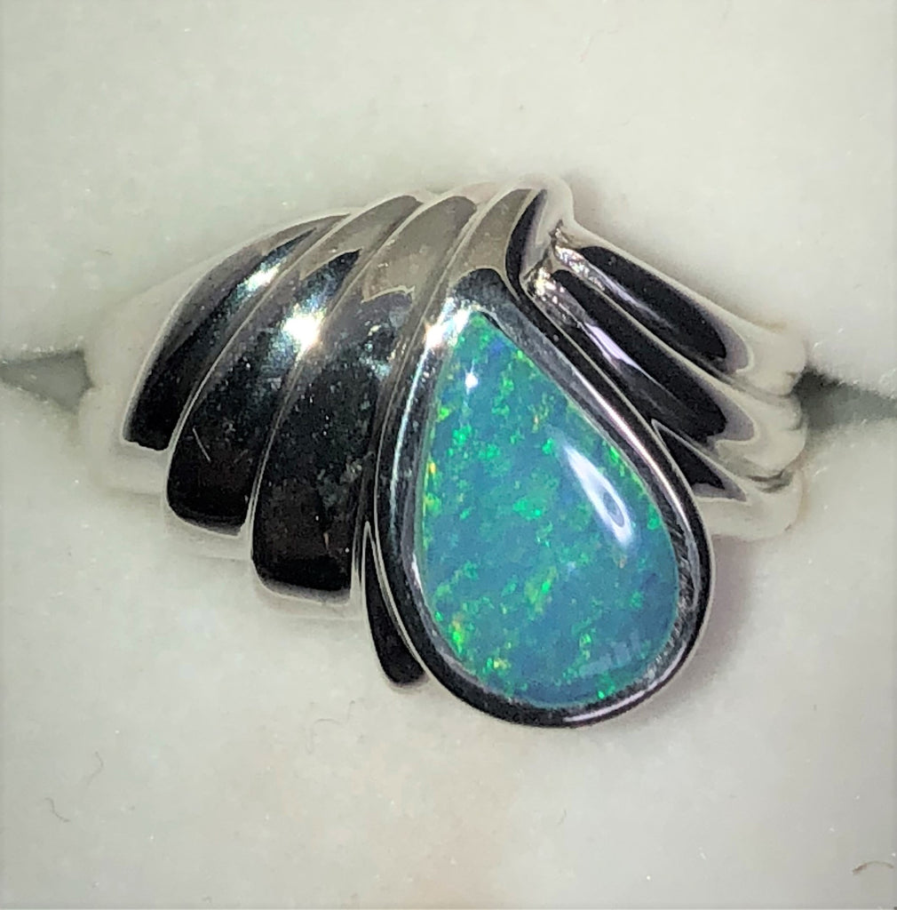 Green opal inlay Ring