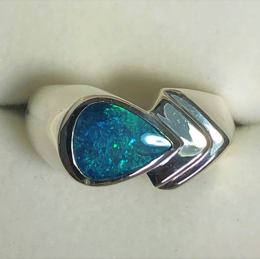 Green Blue opal inlay Ring
