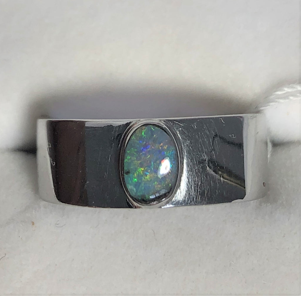 Green Pink solid boulder opal sterling silver ring