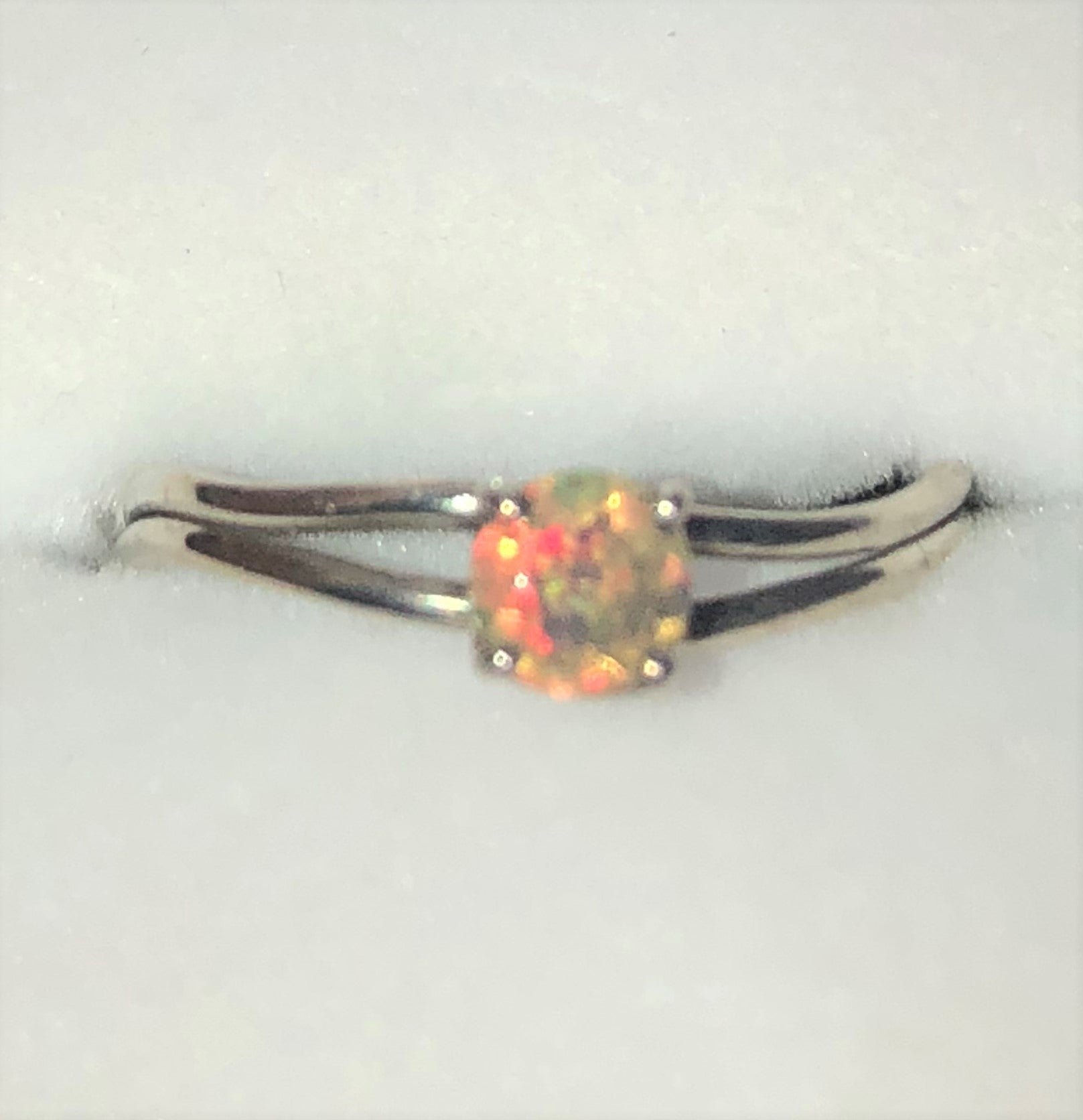 Red Green crystal Ethiopian opal silver ring