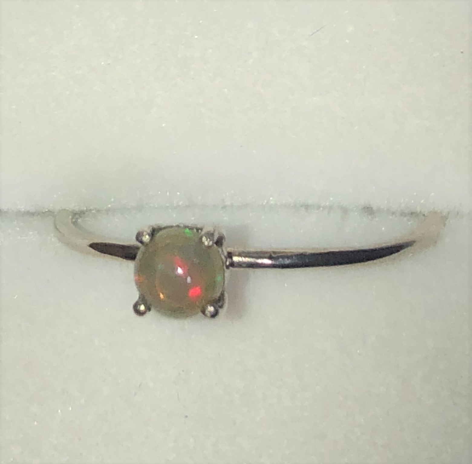 Red crystal Ethiopian opal silver ring