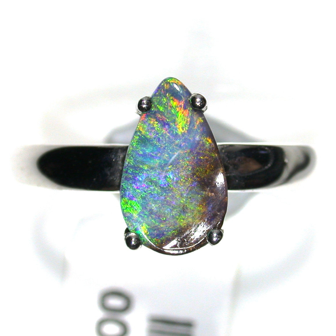 Green, multi coloured solid boulder opal from Quilpie , Sterling silver  Ring