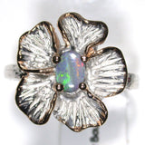 Green and pink Solid boulder opal from Quilpie , Sterling silver  Ring